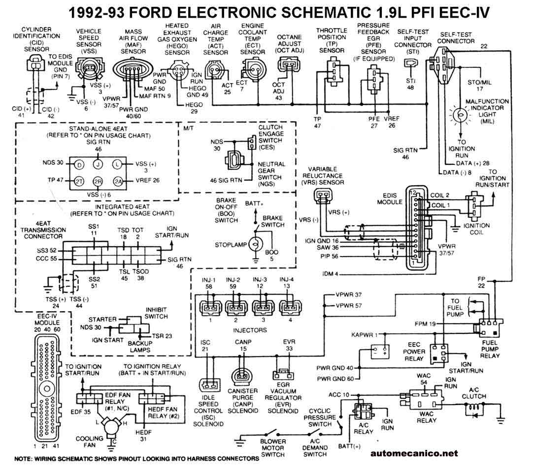 1993 ford escort motor diagrama