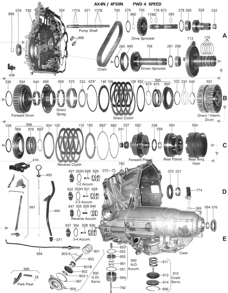 4r70w Exploded Diagram also Ford Ax4s Transmission Diagram in addition 47re Transmission Wiring Diagram likewise Atsg together with Chevy Geo Tracker Parts Catalog. on e4od exploded view